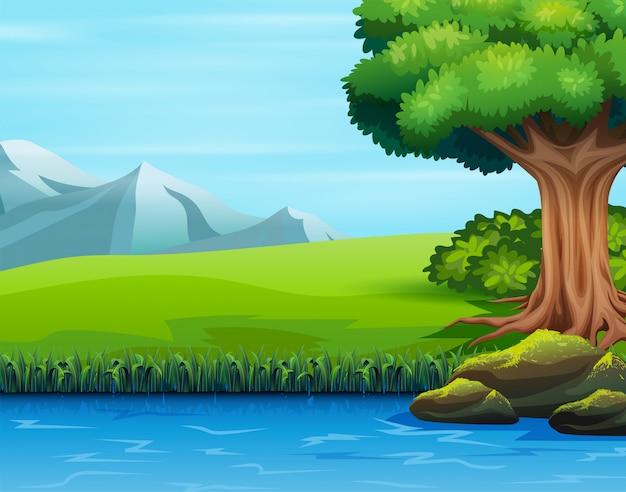 Ilustração de uma grande árvore perto do rio