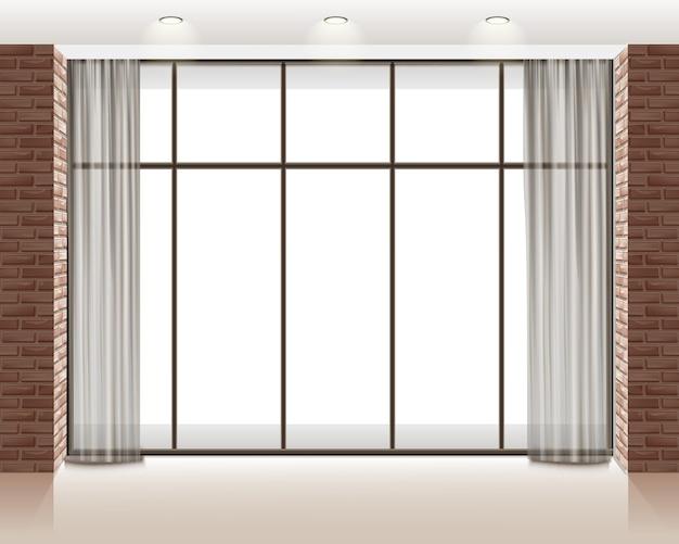 Ilustração de uma grande janela dentro de um loft vazio com parede de tijolos