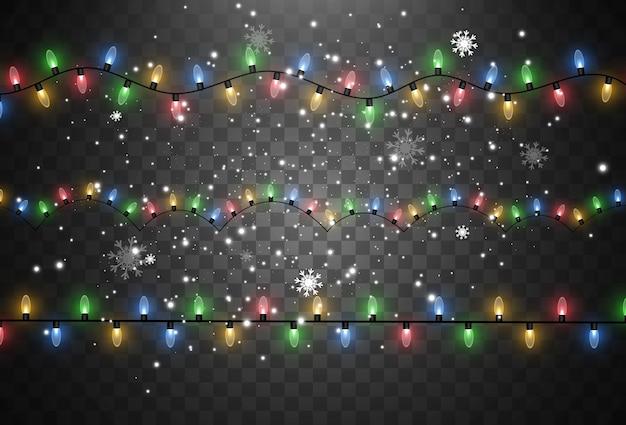 Ilustração de uma guirlanda de luz em um fundo transparente.