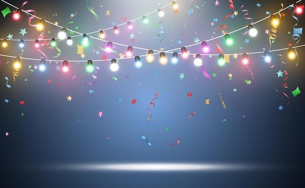 Ilustração de uma guirlanda de luz transparente