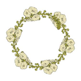 Ilustração de uma guirlanda floral em fundo branco