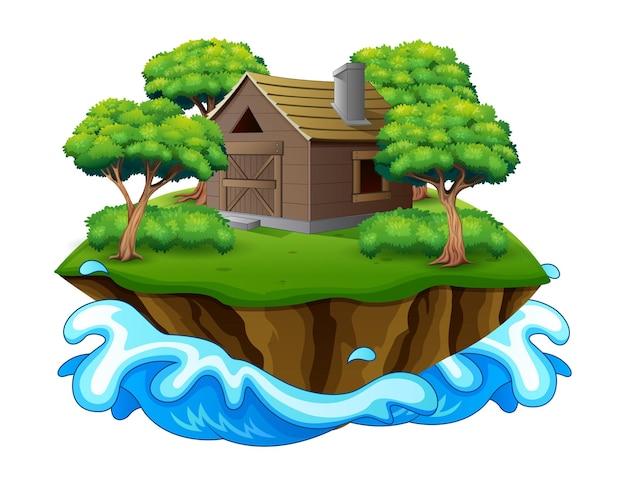 Ilustração de uma ilha com uma casa de madeira ou celeiro