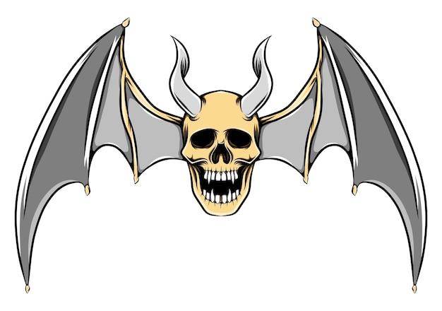 Ilustração de uma ilustração assustadora de um crânio morto com longos chifres e asas de morcego