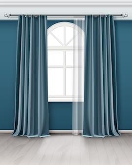 Ilustração de uma janela em arco com um par de cortinas azuis azul-petróleo penduradas na haste na sala