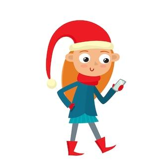 Ilustração de uma jovem adolescente cartoon está olhando para smartphones isolados no branco.