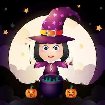 Ilustração de uma jovem bruxa de halloween fofinho em pé em frente à lua