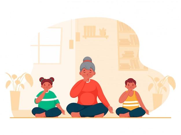 Ilustração de uma jovem com crianças fazendo ioga, respiração alternada de narina em pose sentada em casa.