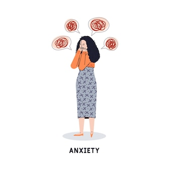 Ilustração de uma jovem com transtorno de ansiedade