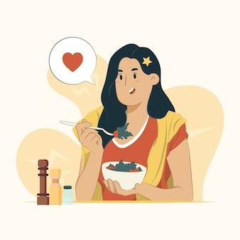 Ilustração de uma jovem comendo uma salada saudável