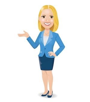 Ilustração de uma jovem e atrativa mulher de negócios loira