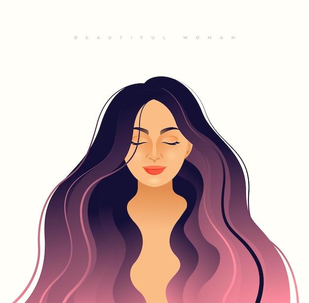 Ilustração de uma jovem elegante com cabelo comprido