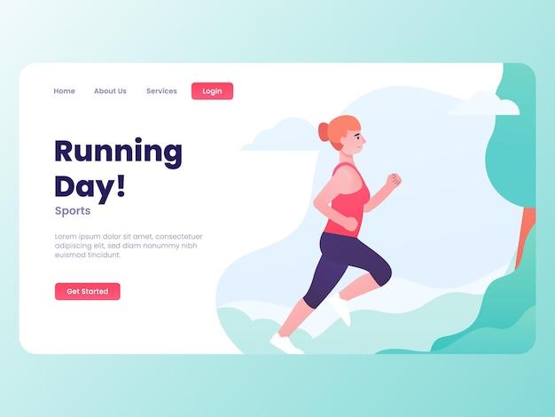 Ilustração de uma jovem garota atraente fitness correndo com o conceito de site