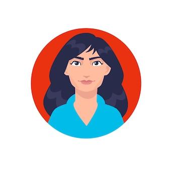 Ilustração de uma jovem garota comum. mulher asiática de desenho animado com cabelo comprido.