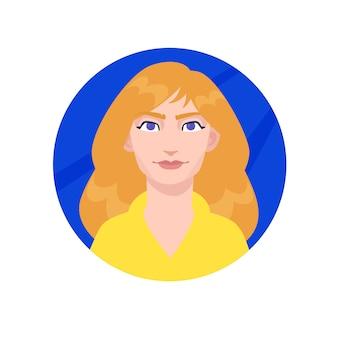 Ilustração de uma jovem garota comum. mulher de desenho animado com cabelo comprido.