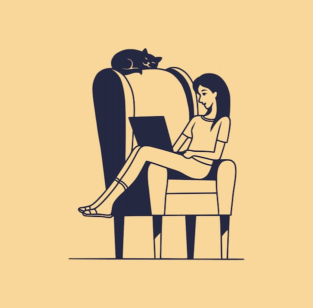 Ilustração de uma jovem mulher sentada em uma cadeira com um laptop, sozinha. o gato dorme no encosto da cadeira. conceito de isolamento em casa. estilo cartoon plana
