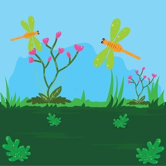 Ilustração de uma libélula no cimo de uma planta de arbusto com flores vermelhas no jardim