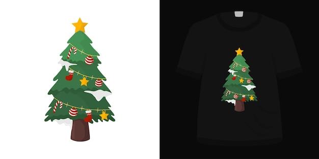 Ilustração de uma linda árvore de natal para o design de camisetas