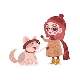 Ilustração de uma linda garota brincando com seu cachorro de estimação