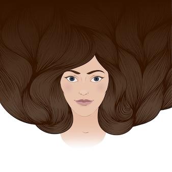 Ilustração de uma linda garota com um longo cabelo castanho frisado. um cartão de felicitações, um cartão de convite
