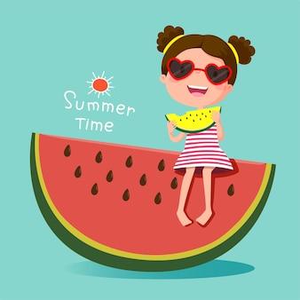 Ilustração de uma linda garota comendo melancia