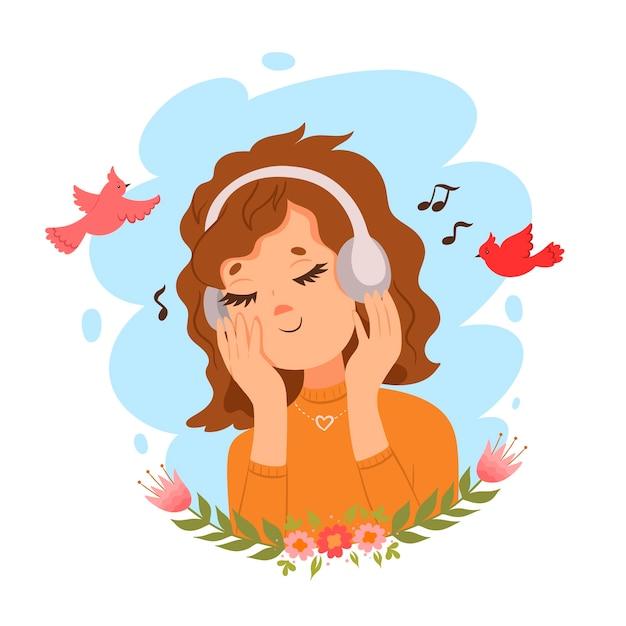 Ilustração de uma linda garota em fones de ouvido e birdies.