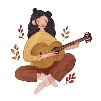 Ilustração de uma linda garota tocando violão