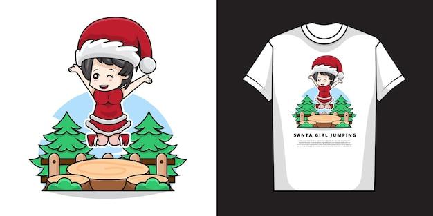 Ilustração de uma linda garota vestindo fantasia de papai noel com design de camiseta