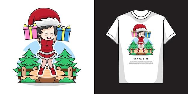 Ilustração de uma linda garota vestindo fantasia de papai noel e segurando um presente de natal com design de camiseta