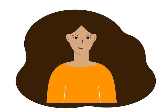 Ilustração de uma linda mulher com cabelos exuberantes