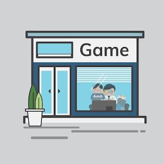 Ilustração de uma loja de jogos