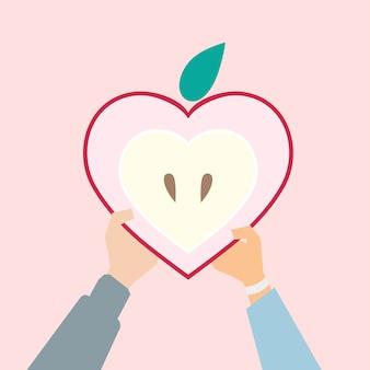 Ilustração de uma maçã em forma de coração