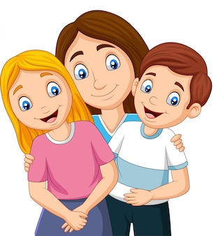 Ilustração de uma mãe com filho e filha