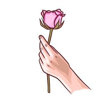 Ilustração de uma mão segurando flores rosas