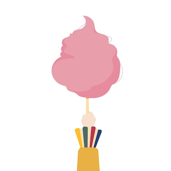 Ilustração de uma mão segurando o algodão doce