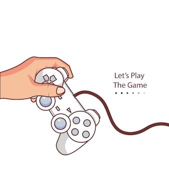 Ilustração de uma mão segurando um joystick para jogar