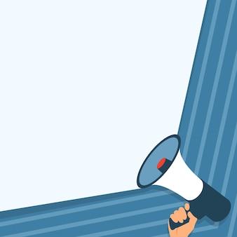 Ilustração de uma mão segurando um megafone fazendo um novo e maravilhoso anúncio desenho da palma