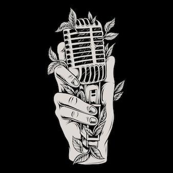 Ilustração de uma mão segurando um microfone clássico