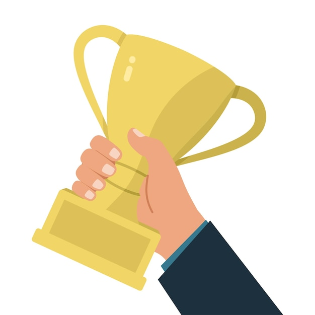 Ilustração de uma mão segurando uma taça de troféu