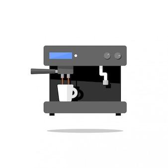 Ilustração de uma máquina de café abstrata fazendo café