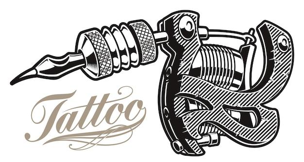 Ilustração de uma máquina de tatuagem em um fundo branco. todos os itens estão em grupos separados.