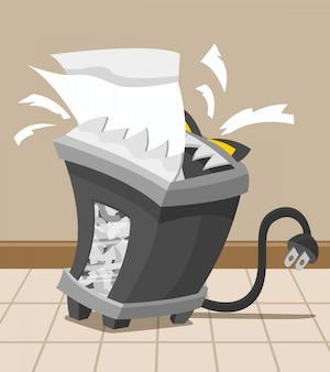 Ilustração de uma máquina trituradora com raiva comendo alguns papéis