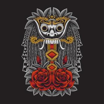 Ilustração de uma máscara rangda cultura balinesa da indonésia