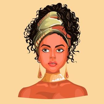 Ilustração de uma menina africana ou latinos, usando lenços e brincos bonitos.