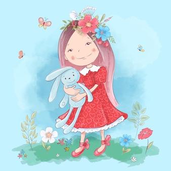 Ilustração de uma menina bonito dos desenhos animados com um brinquedo