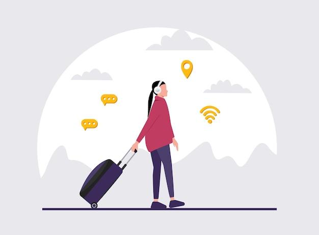 Ilustração de uma menina com fones de ouvido segurando uma bagagem