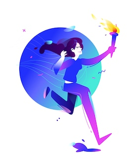 Ilustração de uma menina com uma tocha. garota correndo.
