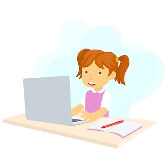 Ilustração de uma menina estudando online devido à pandemia
