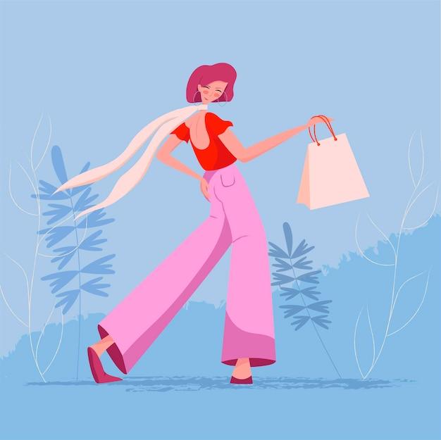 Ilustração de uma menina feliz com sacola de compras