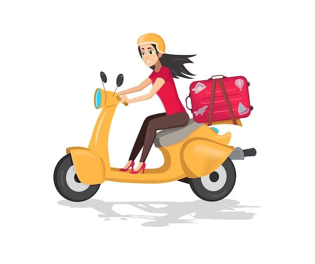Ilustração de uma menina feliz dirigindo uma scooter com mala