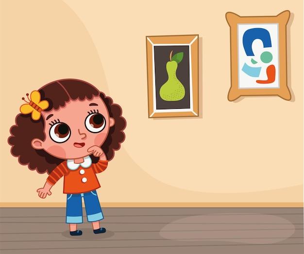 Ilustração de uma menina olhando para uma pintura em uma exposição. ilustração vetorial